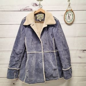 Vintage Blue Suede Leather coat faux sherpa lining